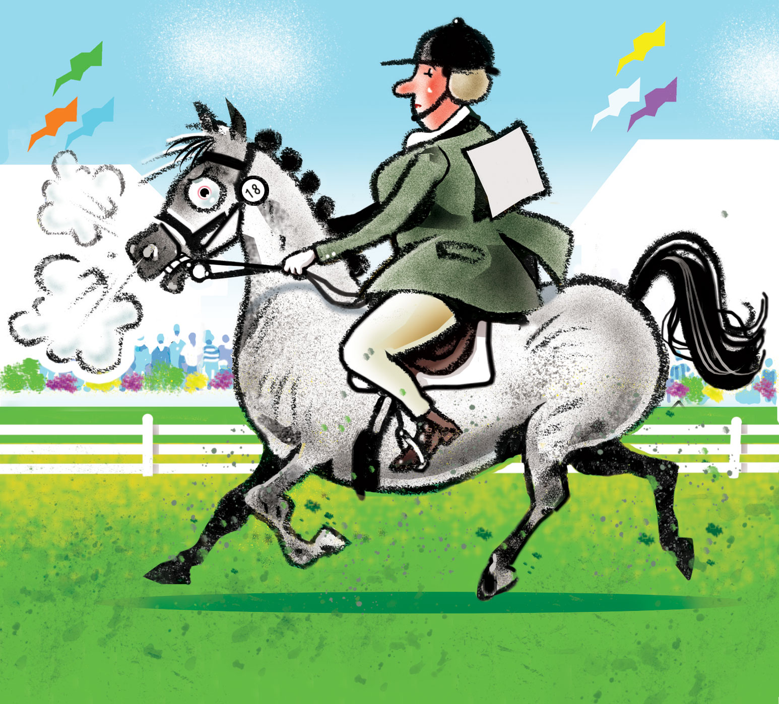 illustration of lady on horseback | handbuilt cartoon illustrations