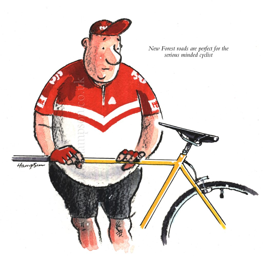 A keen cyclist from the Forest. Drawn to New Forest humour by Paul Hampson